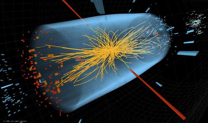 Hình minh họa quá trình va chạm giữa hai luồng hạt trong máy gia tốc hạt lớn. Các nhà khoa học hy vọng tìm thấy hạt Higgs nhờ sự va chạm giữa các luồng hạt.