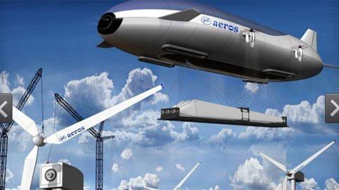 Một trong những kỳ vọng của Aeros là Aeroscraft có thể kiêm nhiệm cả phương tiện vận chuyển hàng cỡ khủng tới các vùng sâu, vùng xa, hẻo lánh. Trong ảnh, Aeroscraft đang vận chuyển turbine gió.
