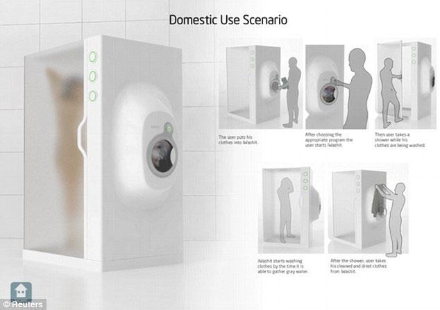 Trước khi tắm, người dùng bỏ quần áo vào máy giặt tích hợp kế bên phòng tắm
